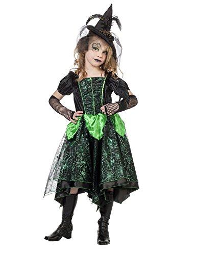 Karneval Klamotten' Kostüm Hexe Glamour grün Mädchen Halloween Hexe Mädchenkostüm ()