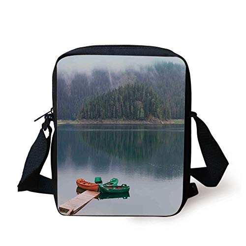 WITHY Lake House Decor,Forest and Lake Landscape with Canoes by the Pier in European Countryside Fall Photo,Green Brown Print Kids Crossbody Messenger Bag Purse (Coach Tablet-fall)