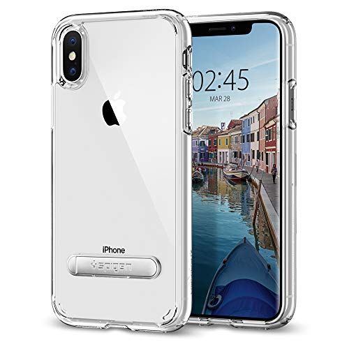 Spigen Ultra Hybrid S Cover iPhone XS/X, con Tecnologia Cuscino d'Aria e Supporto Magnetico in Metallo per Apple iPhone XS (2018) / X (2017) - Crystal Clear - 057CS22133