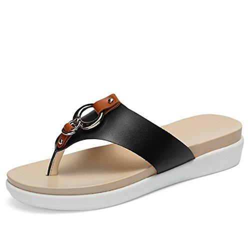 Confortevole Flip flops Pattini di modo femminili di estate Sandali dei guanti di cuoio spessi Pattini antisdrucciolevoli della spiaggia delle suole (2 colori opzionali) (formato opzionale) È aumentat B