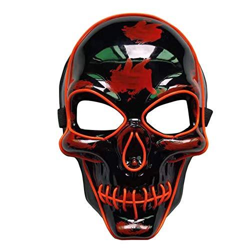 Red Skull Der Kostüm - LYU-oag LED Halloween Maske Scary Skull Maske Cosplay Led Kostüm Maske leuchten für Halloween Festival Party-Red