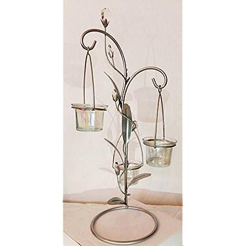 Elegante alto Argento Albero con vetro curvo foglie, strass e appendere 3portacandele in (Yankees Strass)