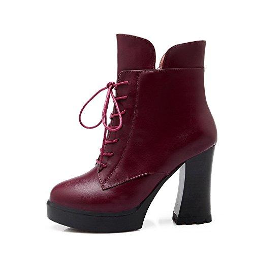 AllhqFashion Damen Reißverschluss Rund Zehe Hoher Absatz Niedrig Spitze Stiefel, Rot, 42