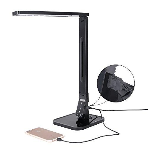 Verbitec LED Schreibtisch-Lampe mit 4 verschiedenen Farbtemperaturen - Hochwertige Arbeitsplatzleuchte mit USB Anschluss als - Industrie-schreibtisch-lampe