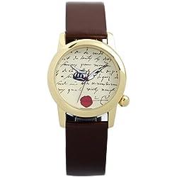 Noméa 1LET1S-7-Literature Themed Unisex Watch-Analogue Quartz-Leather Strap-Red