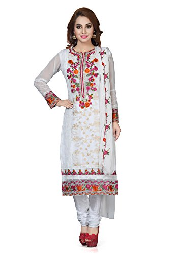 Ishin Women's Silk White Bollywood Embellished Unstitched Salwar Suit Dress Material (Anarkali/Patiyala)...