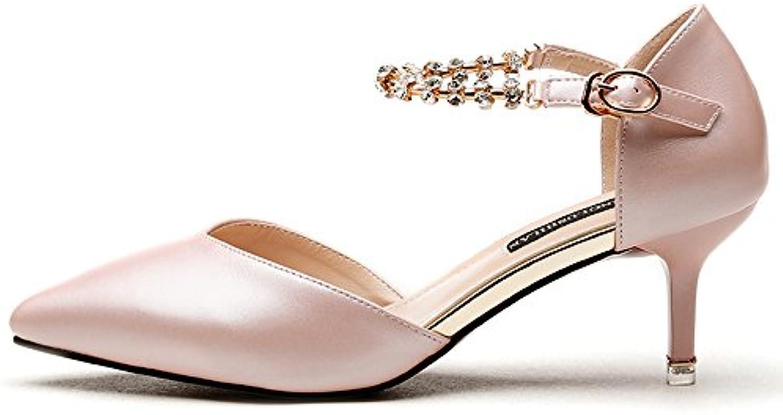 s Feifei Femmes Chaussures d'été PU Matériel à Strass Mode à Matériel Talons Hauts (avec Haute: 7cm) (Couleur : Rose...B07C5WFMYHParent 139444