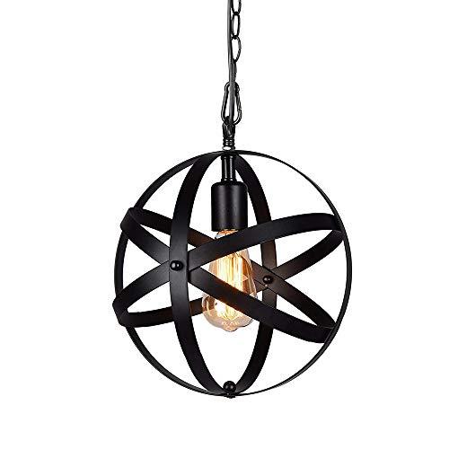 Lámpara globo industrial con 3,28 pies cable, aceite Vintage perfecto frotó el orbe negro colgante colgante luces para la decoración casera(Negro)