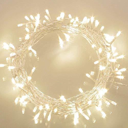 100er LED Lichterkette Batterie betrieben WarmWeiß Ideal für CHRISTMAS, Festlich, Hochzeiten, Geburtstag, PARTY, NEW YEAR Dekoration, HÄUSER ETC (Kerzen Geburtstag Neue)