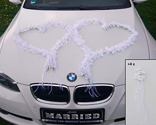 Autoschmuck ORCHIDEEN Herzen Braut Paar Rose Deko Dekoration Hochzeit Car Auto Wedding Deko Girlande PKW (reinweiß)