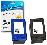 Printing Pleasure 2x Tintenpatronen kompatibel zu HP 27 & HP 28 für HP Deskjet, Fax & Officejet Drucker