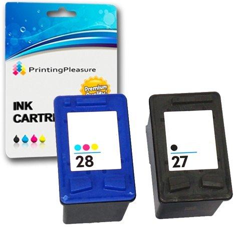 Printing Pleasure 2 Tintenpatronen kompatibel zu HP 27 / HP 28 für Deskjet 3320 3325 3420 3535 3538 3550 3645 3650 3740 3744 3745 3840 3845 3848 5150 5160 5650 5652 5850 Fax 1240 Officejet 4200 4212 4215 4219 6110 PSC 1100 1110 1209 1210 1210V 1210xi 1215 1216 1310 1312 1315 1317 - Schwarz/Color, hohe Kapazität