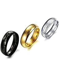WWM& Personalidad Super Cool Fashion escritura de la biblia de titanio Hombres Anillo Señor de los anillos