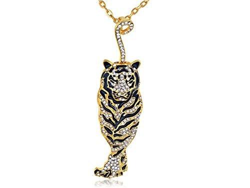 Alilang Frauen Golden schwarze kühlen Emaille Strass Tiger Anhänger Halskette
