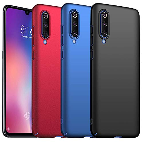 KZIOACSH Cover Xiaomi Mi 9 SE, 3 Pack Ultra Thin Hard Plastic Case PC Protective Case for Xiaomi Mi 9 SE (Black Red Blue)
