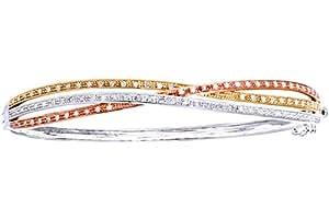 Naava - Bracelet Jonc Femme - Or tricolore 375/1000 (9 Cts) 10.2 Gr - Diamant 0.005 Cts - Femme