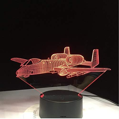 Veilleuse Pour Enfants Veilleuse Led Air Plane 3D Light Lampe De Table À Led Illusion Veilleuse 7 Couleurs Changeantes Mood Lamp 3Aa Batterie Alimenté Usb Lampe