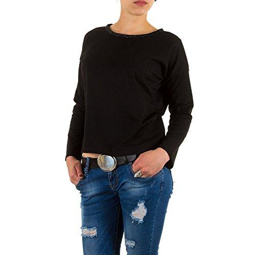 Damen Sweatshirt, JCL STRASS SWEATSHIRT, KL-51927 Schwarz