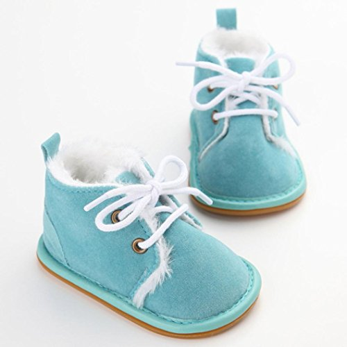 kingko® Unisex Neugeborene Winter warm Schnee Stiefel Gummisohle Prewalker Kind-Schuh Himmelblau