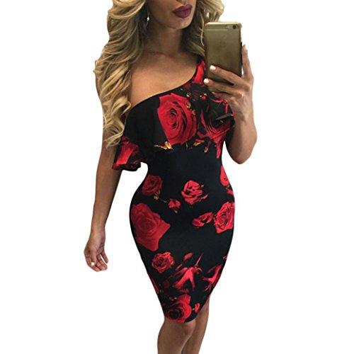 KanLin Damen Casual Off Shoulder Printed Party Cocktail Beach Short Dress Rot