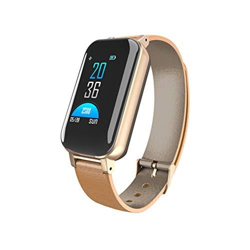 GXYAS Intelligente binaurale Armbanduhr Bluetooth Headset 2 in 1 Farbdisplay Anruf Herzfrequenz Blutdruck Schlafüberwachung Schritt Handgelenk Band Armband Frauen Kinder Männer Geschenke Tisch-Gold