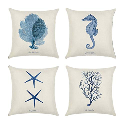 Vosarea 4 PCS Throw Pillow Cover Dipinto Mano Marine Stile Cuscino Decorativo Caso Cuscino Protezione per la casa Letto Sedia