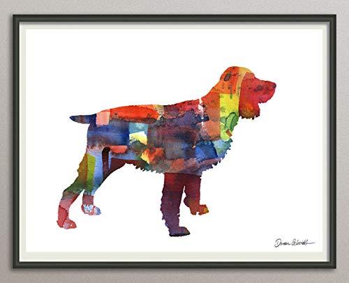 english springer spaniel Rasse Hunde Hunderasse Fine Art Print Aquarell Silhouette Profil Poster Kunstdruck Plakat modern ungerahmt DIN A 4 Deko Wand Bild -