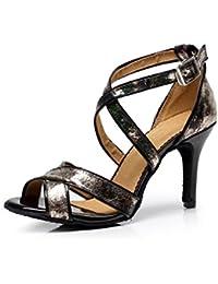 JSHOE Mujer Sexy Salsa Jazz Dance Shoes Salón De Baile Tango Latino Zapatos De Baile Zapatos De Tacón Alto,A-heeled7.5cm-UK2.5...