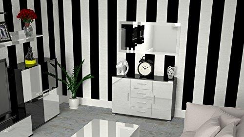 Labi möbel kR3 commode buffet cosmo 110 cm-couleur : noir brillant façades : blanc brillant