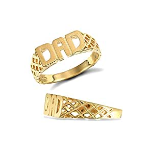 Jewelco London Men's Solid 9ct Yellow Gold Basket Sides DAD Ring