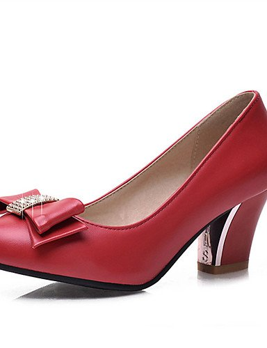 WSS 2016 Chaussures Femme-Mariage / Habillé / Décontracté / Soirée & Evénement-Noir / Rouge / Amande-Gros Talon-Talons-Talons-Similicuir black-us6 / eu36 / uk4 / cn36