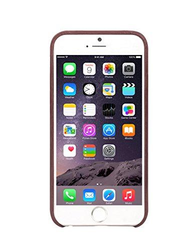 iPhone 6/6Plus Schutzhülle, ultra dünn Echt Leder Back Cover Bumper für 4,7/14cm Apple Phone, qialino Handarbeit Weiche strapazierfähige Displayschutzfolie mit Kartenschlitz Rückseite, Leder, coffee dunkelbraun