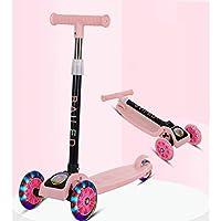 LELE Folding 3 Flash Wheel Scooter for Kids Boys Girls Adjustable Height PU Wheels Best Gifts (Pink)