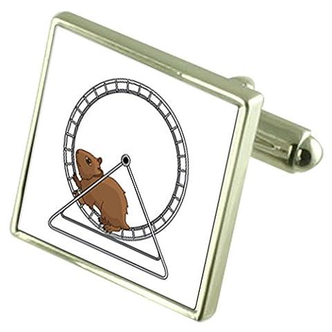 Sur une roue de hamster de manchette en argent sterling gravé fort en option