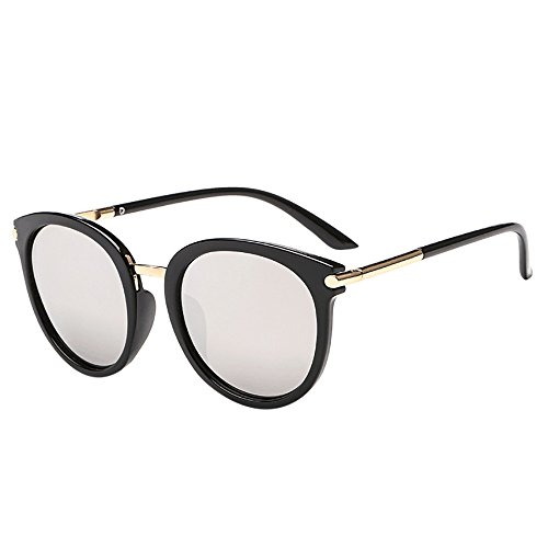 Battnot Sonnenbrille für Damen Herren, Vintage Unisex Sonnenbrille Mode Katzenauge Runde Brille Brillen Männer Frauen Rapper Grunge Billig Retro Cat Eye Sunglasses Super Coole Travel Eyewear
