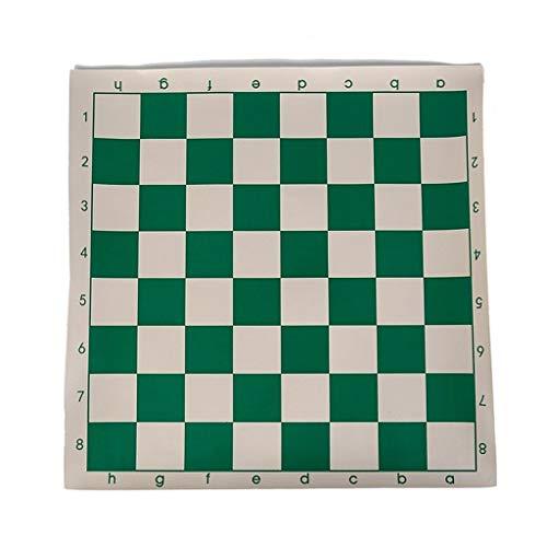 LOFAMI Traditionelle Spiele Schach 1 Stück Vinyl Turnier Schachbrett für Kinder Lernspiele Grün & Weiß Magnettafel für Schach Dame 34,5 cm Schach (Color : Green White, Größe : 34.5 * 34.5cm) -