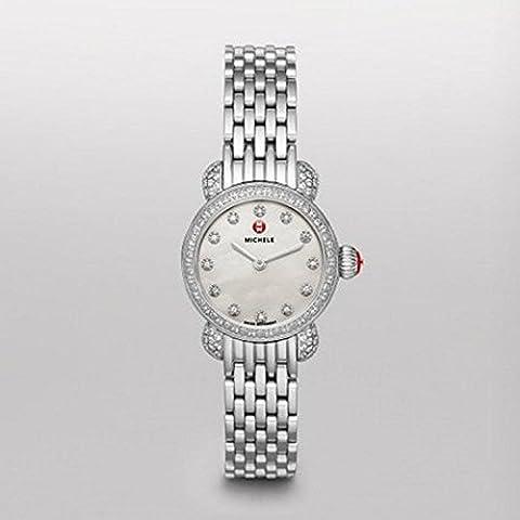 Michele da donna 26mm con cinturino e cassa in acciaio svizzero al quarzo quadrante bianco orologio analogico mww03a000230