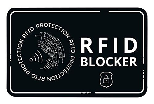 Lebama RFID Blocker Karte - Störsender ohne Batterie - Eine NFC Schutzkarte schützt Ihre gesamte Geldbörse gegen Datendiebstahl! Schutz für NFC Bankkarte, Kreditkarte, EC Karte (Schwarz)