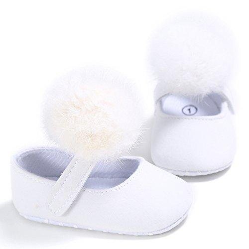 Nouveau-né Baby Prewalker Chaussures pour fille avec Pom Pom Blanc