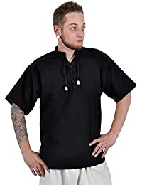 Medieval cotton shirt for men with short sleeves - Stand up collar and chest lacing - Black