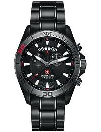 Del cuarzo de los hombres en el ejército suizo en homenaje a un reloj con esfera de color negro de la pantalla digital de color negro y pulsera de acero inoxidable 6-5217, 13,007