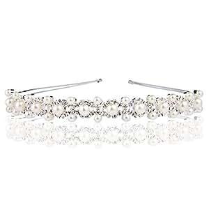 Memory Love® Serre-Tête Cheveux Bandeau Double Rangs de Fausse Perle Bijoux Femme Mariage