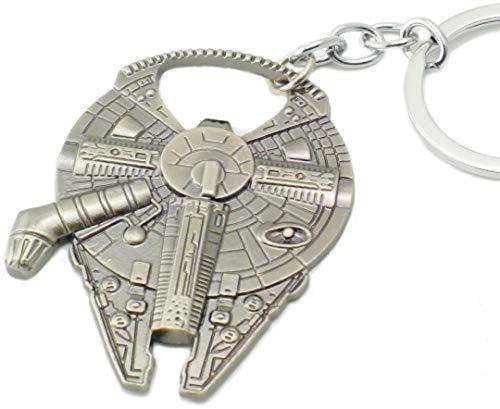 WOO LANDO Han Solo`s Millenium Falke - Flaschenöffner in Raumschiff Optik mit Schlüsselanhänger, Edelstahloptik 60x45mm, lustiges Geschenk