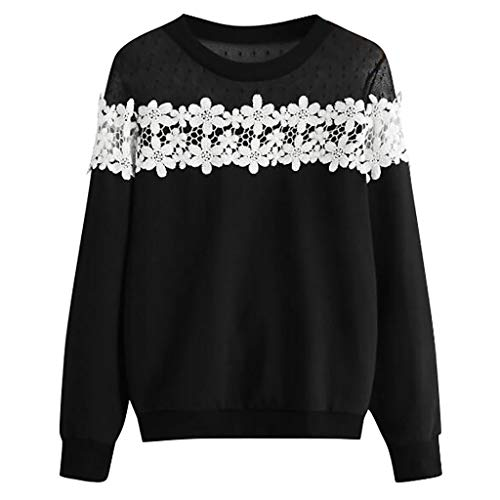 Beikoard Frauen Neck Solid Appliques Langarm Shirt Spitzen Sweatershirt Top Lose Sweatshirt Shirt Einfarbiges -
