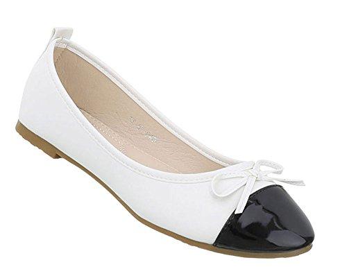 Damen Schuhe Ballerinas Blockabsatz Weiß Schwarz 38