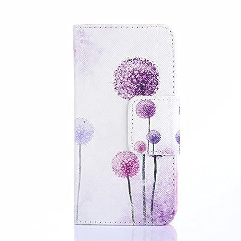URFEDA® Schutzhülle für Sony Xperia Z3 Compact Hülle Purple Dandelion Wallet Case PU Leder Tasche Muster Flip Cover Schutz Hüllen im Bookstyle Handyhülle Ledertasche mit Stand Funktion Kartenfächer Magnetverschluss Magnet Etui Schale Schutzhüllen für Smartphone Sony Xperia Z3 Compact