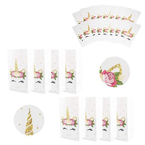 INTVN 24 Stück Einhorn Popcorn Boxen Popcorn Tüten - Regenbogen Einhorn Popcorn Kasten - Streifenmuster Dekoratives Geschirr für Party und Süßigkeiten