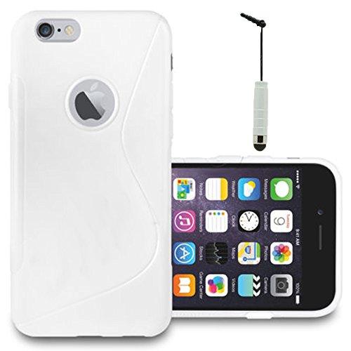 VComp-Shop® S-Line TPU Silikon Handy Schutzhülle für Apple iPhone 6/ 6s + Großer Eingabestift - TRANSPARENT WEISS + Mini Eingabestift