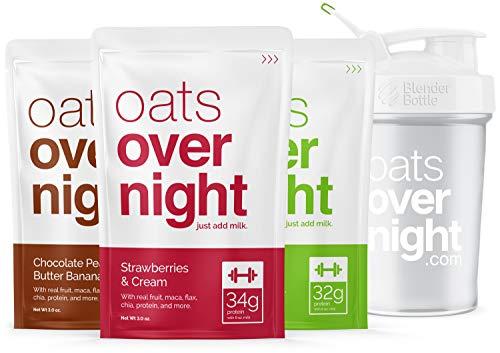 Oats overnight con blenderbottle (3oz per confezione) alto contenuto di proteine,basso contenuto di zucchero,senza glutine 3 pacchetto di varietà con blenderbottle