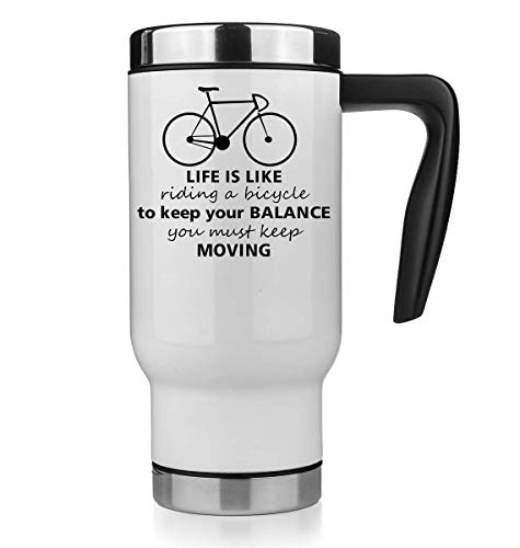 KRISSY Life is Like Riding A Bicycle to Keep Your Balance You Must Keep Moving Thermo Mug Thermotasse Thermal Tasse Coffee